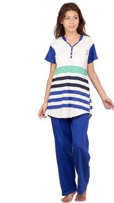 Hautewagon Women's Self Design Blue Top & Pyjama Set