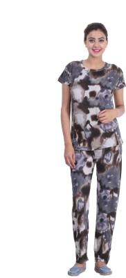 Broche Women's Printed Multicolor Top & Pyjama Set