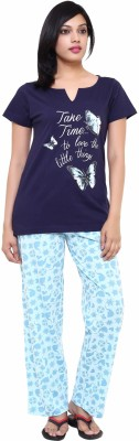 Softwear Women's Printed White Top & Pyjama Set