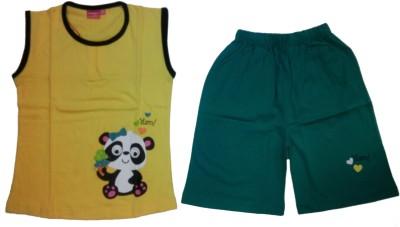 Tomato Girl's Printed Yellow, Green Top & Shorts Set
