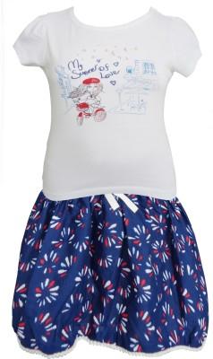 Sweet Dreams Girl's Solid White Top & Skirt Set