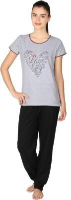 Lazy Dazy Women's Printed Grey, Black Top & Pyjama Set
