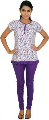 CKL Women's Solid Purple Top & Pyjama Set
