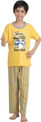 Kanvin Boy's Printed Yellow Top & Pyjama Set