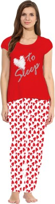 So Sweety Women's Solid Red Top & Pyjama Set
