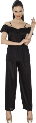 Ignis Women's Solid Black Top & Pyjama Set