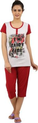 New Darling Women's Printed Grey, Maroon Top & Capri Set