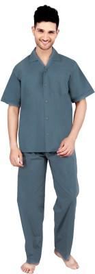 Tatwam Woven Men's Solid Grey Top & Pyjama Set