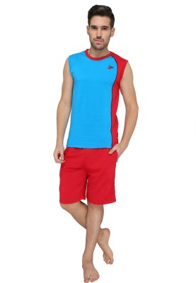 Valentine Men's Solid Red Top & Shorts Set