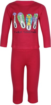 Jazzup Girl's Printed Pink Top & Pyjama Set