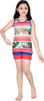 Red Ring Girl's Self Design Multicolor Top & Shorts Set