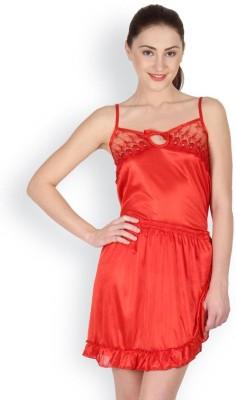 Oleva Women's Self Design Red Top & Shorts Set