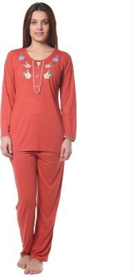 Squirrel Women's Solid Orange Top & Pyjama Set