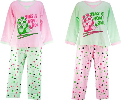 Chocoberry Girl's Printed Pink, Green Top & Pyjama Set
