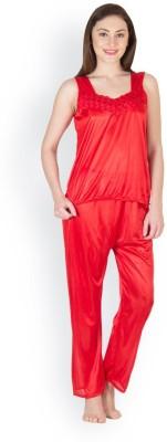 Oleva Women's Self Design Red Top & Pyjama Set