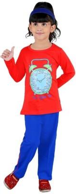 Bella & Brat Girl's Graphic Print Red, Blue Top & Pyjama Set