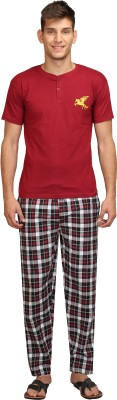 Right Shape Mens Checkered Maroon Top & Pyjama Set