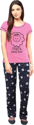 Gallop Women's Graphic Print Pink Top & Pyjama Set