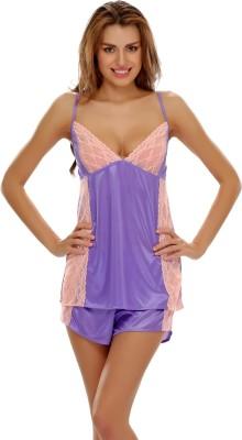 Clovia Purple Women's Solid Purple Top & Shorts Set