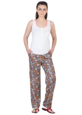 Serenity Women's Solid, Printed Multicolor Top & Pyjama Set