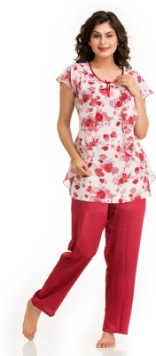 Private Lives Satin in Maroon Color Women's Printed Maroon Top & Pyjama Set