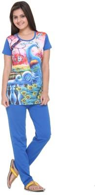 IN Love Women's Graphic Print Blue Top & Pyjama Set