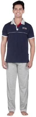 Inter Creation Men,s Solid Grey Top & Pyjama Set
