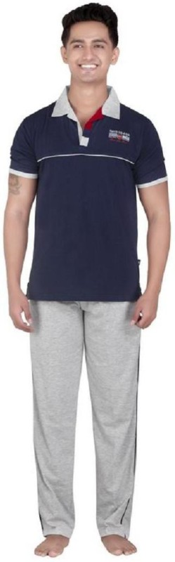 Inter Creation Men's Solid Grey Top & Pyjama Set