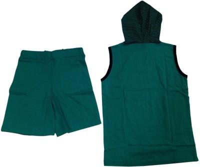 Tomato Girl's Printed Green Top & Shorts Set