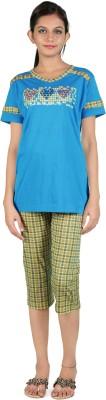 Div Women's Printed Blue Top & Capri Set
