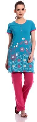 TAB91 Praveen Women's Printed Blue, Pink Top & Pyjama Set