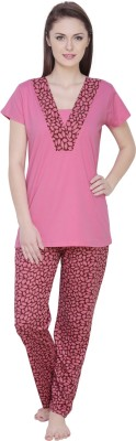 Claura Women's Floral Print Pink Top & Pyjama Set