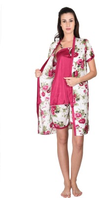 Go Glam Women's Floral Print Pink Top & Shorts Set