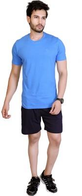 LUCfashion Men's Self Design Black, Blue Top & Shorts Set