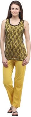 Klamotten Women's Solid Yellow Top & Pyjama Set