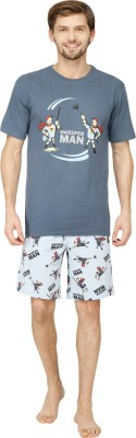 Nuteez Men's Printed Blue Top & Shorts Set