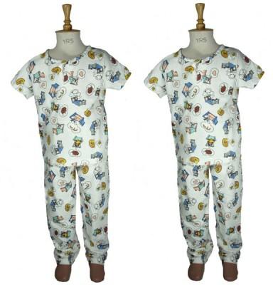Bluedge Baby Boy's Printed Multicolor Top & Pyjama Set