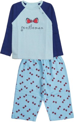 My Little Lambs Baby Boy's Printed Blue Top & Pyjama Set