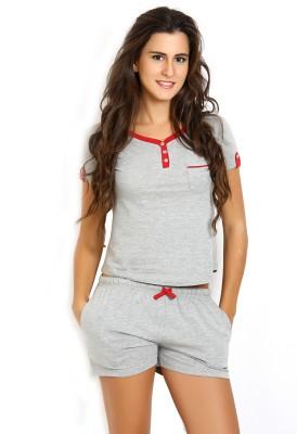 Slumber Jill Women's Solid Grey Top & Shorts Set