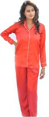 Miss-Me Women's Solid Red Top & Pyjama Set