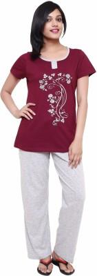 Softwear Women's Printed Maroon Top & Pyjama Set