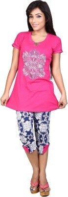 Ruok Women's Printed Pink Top & Capri Set