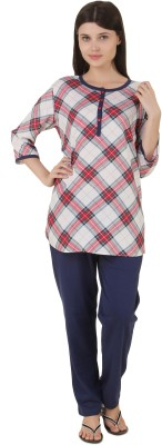 Fragrance Women's Checkered White, Blue Top & Pyjama Set