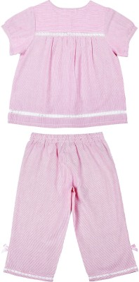 ShopperTree Girl's Striped Pink Top & Pyjama Set