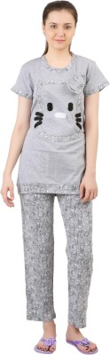 Informal Wear Women's Printed Grey Top & Pyjama Set