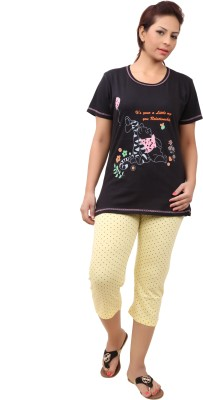 Div Women's Printed Black Top & Capri Set