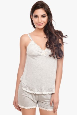 Penny by Zivame Women's Solid Grey Top & Shorts Set