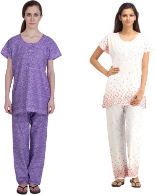 Simrit Women's Printed Purple, Pink Top & Pyjama Set
