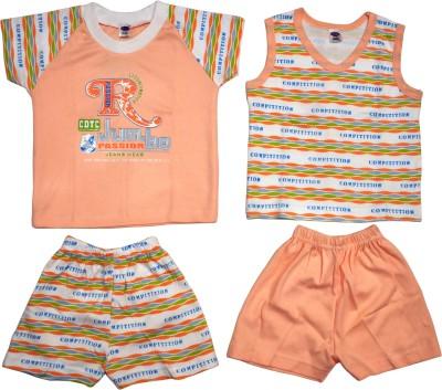 Belle Girl Baby Girl's Printed Pink Top & Shorts Set