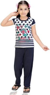 Mint Girls Printed White Top & Pyjama Set